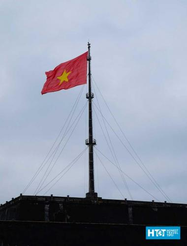 Vietnamese flag flying over Hue Fortress.